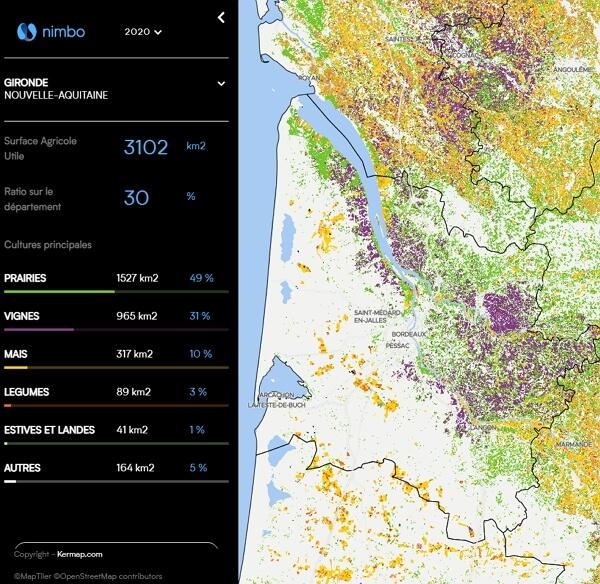 Agriculture : carte des cultures majoritaires en France sur Nimbo
