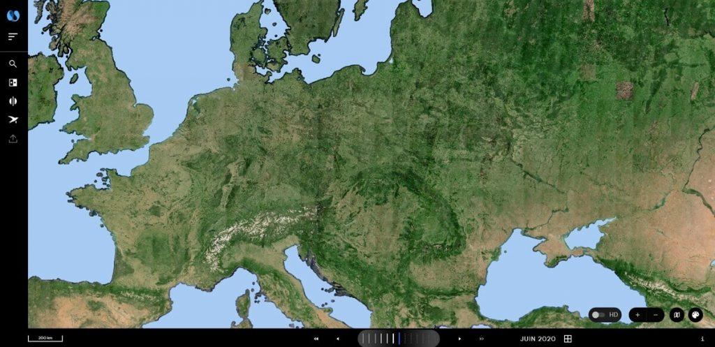 Carte de l'Europe : capture sur la plateforme Nimbo