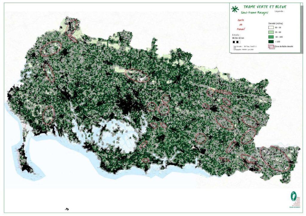 Cartographie de la densité de la trame bocagère 2019 sur le territoire du PNR du Morbihan