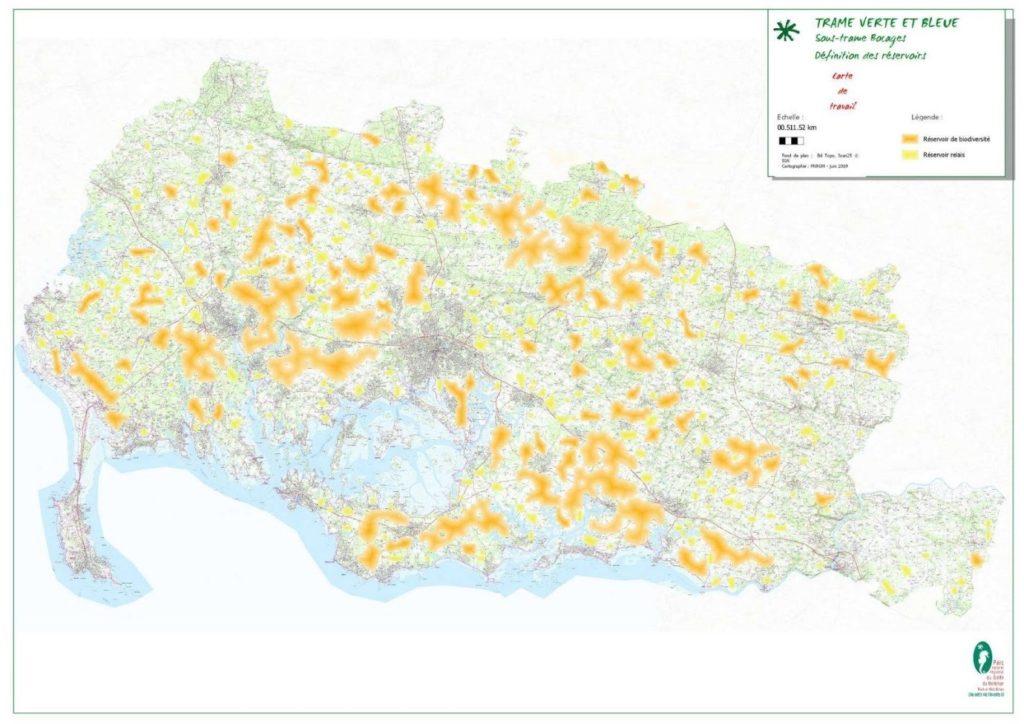 Cartographie des réservoirs de biodiversité 2019 sur le territoire du PNR du Morbihan