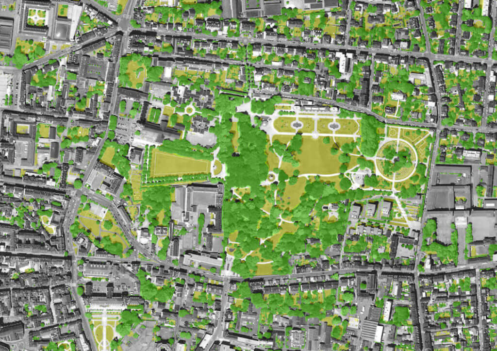 Fine-scale identification of vegetation in Rennes : aerial view of the Parc du Thabor