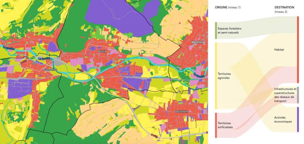 Carte de l'occupation des sols de la région Grand Est