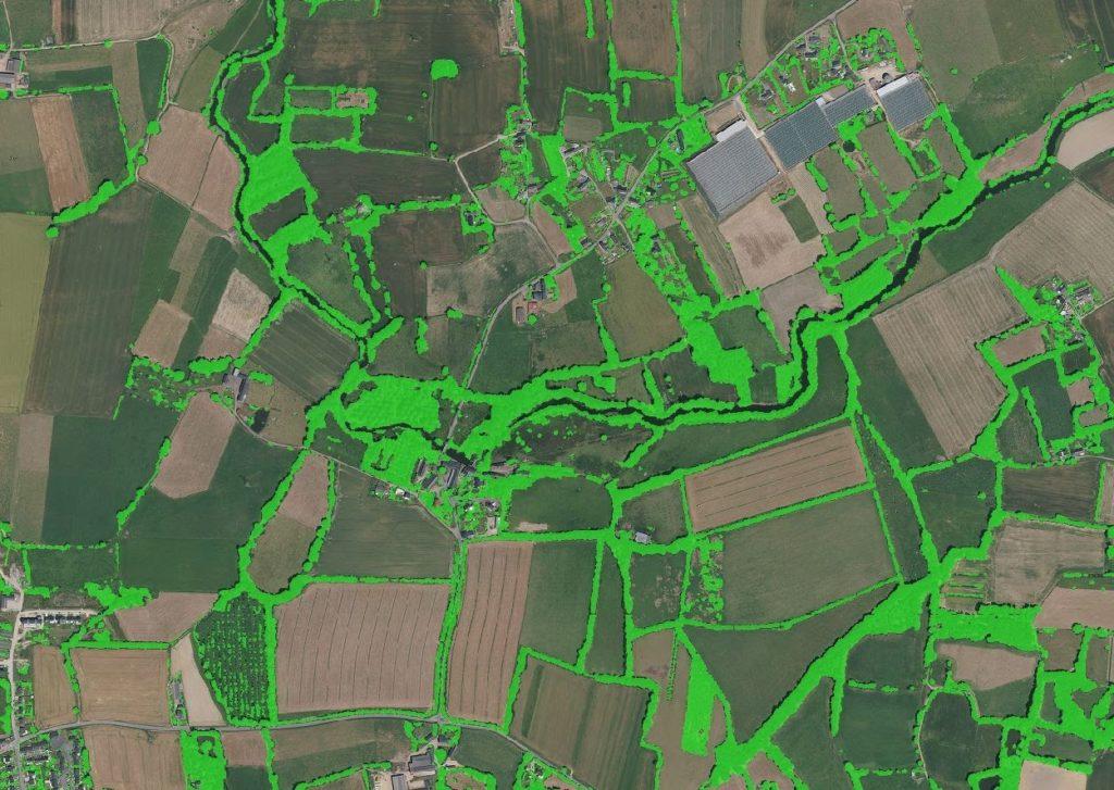 Délimitation de la trame bocagère sur photo aérienne par Kermap