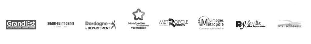 Logo of Kermap's customers among local authorities : Région Grand Est, Seine-Saint-Denis, Dordogne, Montpellier, Rennes...