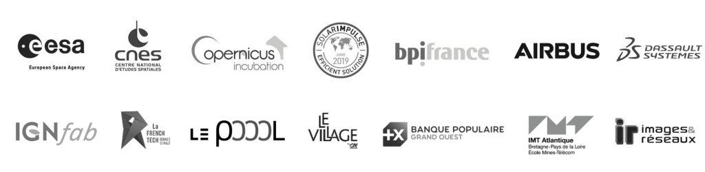 Logos of organizations supporting Kermap : ESA, CNES, Solar Impulse, BPI France, IGN, Airbus...