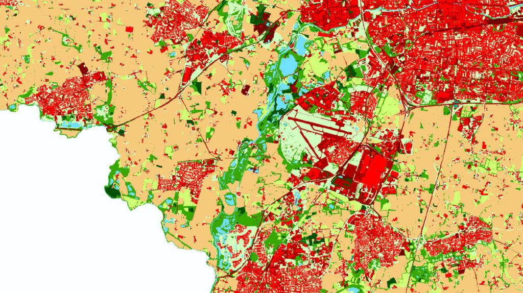 Carte de l'occupation des sols à Rennes, dans le secteur de l'aéroport