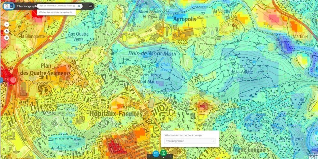 Thermographie satellitaire diurne, Montpellier Méditerranée Métropole