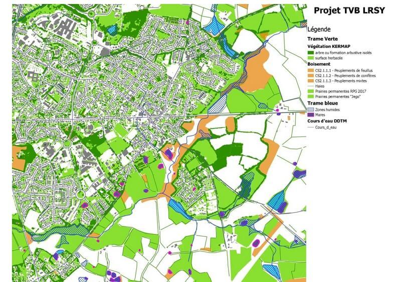 Carte de la trame verte et bleue à La-Roche-sur-Yon