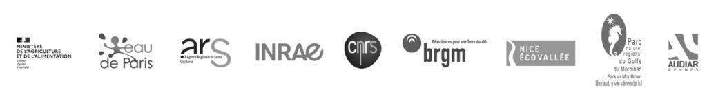 Logos of Kermap's customers amomng public authorities : ministry of Agriculture, Eau de Paris, ARS Occitanie, INRAE...